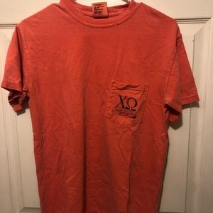 Small comfort colors Chi Omega date party T-shirt.